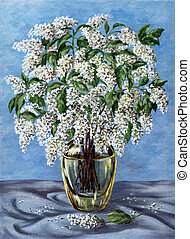 Bird cherry in a glass vase - Picture oil paints on a...