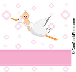 over a stork baby - Baby girl arrival announcement. over a...