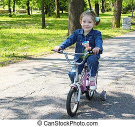 enfant, équitation, Vélo