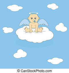 postcard angel boy - Baby with wings sitting on a cloud....