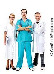 Group of doctors - Portrait of three clinicians looking at...