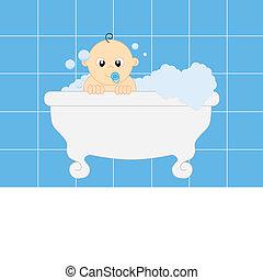 bathing baby boy