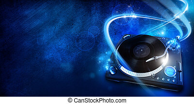Vinyl player, graphic design illustration