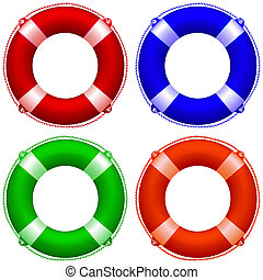 life buoy collection against white background, abstract art...