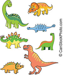 Dinosaur collection - Cartoon dinosaur collection isolated...