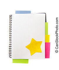blank note book with colored post it notes