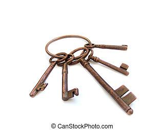 vintage skeleton keys on ring isolated over white background...