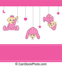 baby girl playing - Baby girl arrival announcement card....