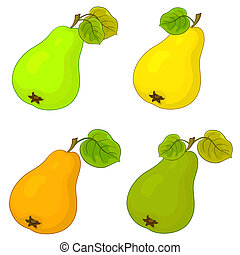 Fruit, pears - Food, the fruit, sweet pears with green...
