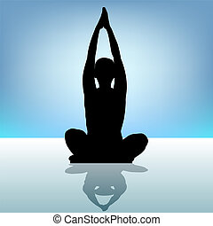 Woman yoga silhouette on water EPS 8 vector file included