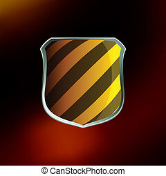Shields in hazard black and yellow stripes. EPS 8