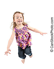 Adorable little girl jumping in air. isolated on white...
