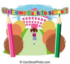 Road to school - Little schoolgirl with satchel goes to the...