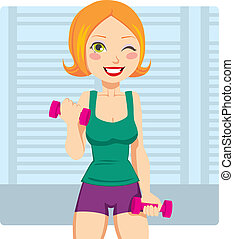 Fitness Weight Exercise - Beautiful and fit red hair girl...
