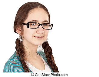 Teen girl with pigtails wearing glasses on a white...