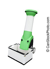 Vacuum cleaner for gathering of leaves separately on a white...