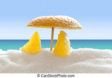橙, 海灘, 糖