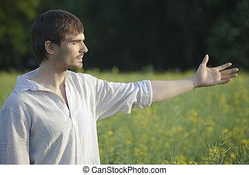 man in field