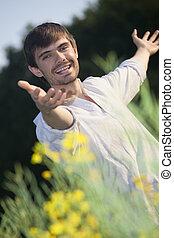 happy man in field