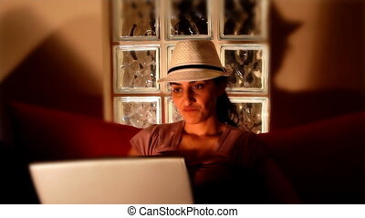 young woman on computer