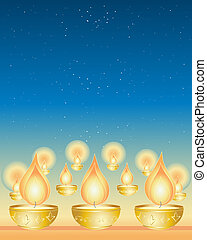 diwali - an illustration of diwali candles in golden cups...