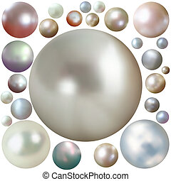 Set of color pearls isolated on white EPS 8 vector file...