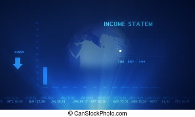 Income statement futuristic projection concept