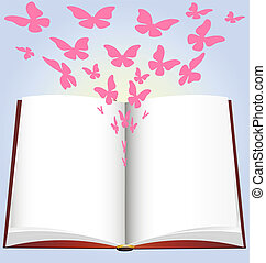 book and butterfly - on a blue background has a large open...