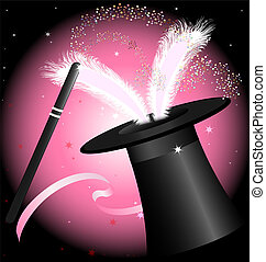 black magic hat - in black and pink background big hat...