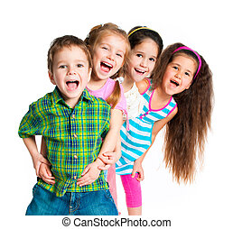 small kids - laughing small kids on a white background