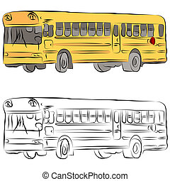 School Bus Line Drawing - An image of a school bus line...