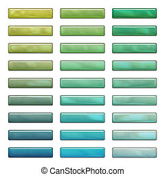 High gloss web buttons in green and blue