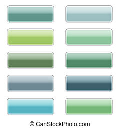 High gloss web buttons in blue and green