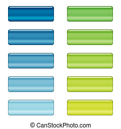 High gloss web buttons in blue and green - Shiny web buttons...