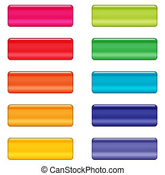 Glossy web buttons in bright colors - Shiny web buttons with...