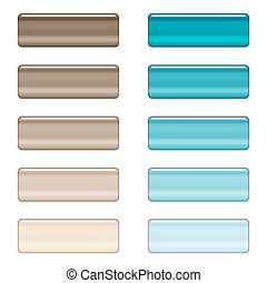 High gloss web buttons in brown and blue