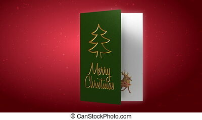 Animated blank christmas card with santa and reindeers