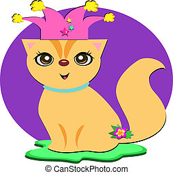 Cat with Party Hat - Here is a happy Cat ready to party.