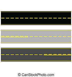 Roads - Illustration of three different types of paved...
