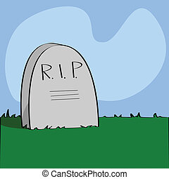 Rest in peace - Illustration of a cartoon tombstone with...