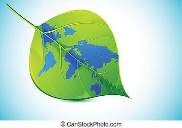 World in Leaf - illustration of world map in leaf on...