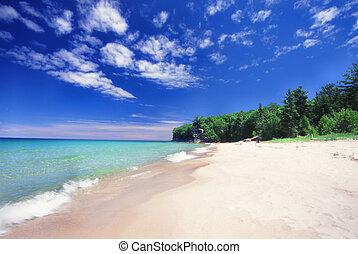Chapel Beach - Michigan UP - Waves wash ashore at Chapel...