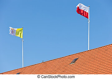 Vatican and Polish flag - Flying Flag of Vatican and Poland.