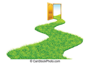Grass Road leading to Green World - illustration of grass...