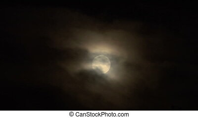 moon cloud closeup 04 - Full glowing moon on foggy night sky...