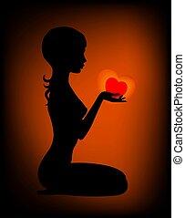 Coração, menina, mãos