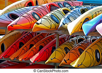 A Rack of Kayaks ready for the Summer.