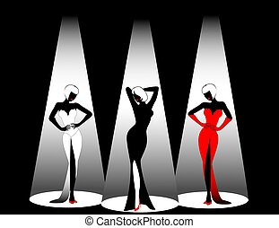three beautiful singers - Silhouettes of three beautiful...