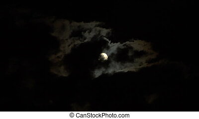 moon stormy 01 - Full glowing moon on cloudy night sky time...