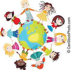 children of the world - vector illustration of a children of...